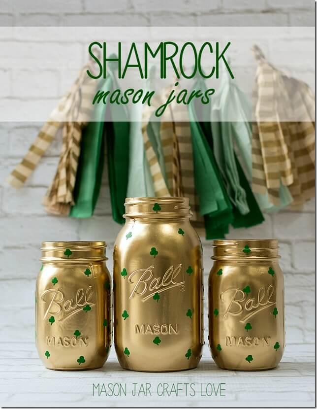 DIY Gold Shamrock Mason Jars