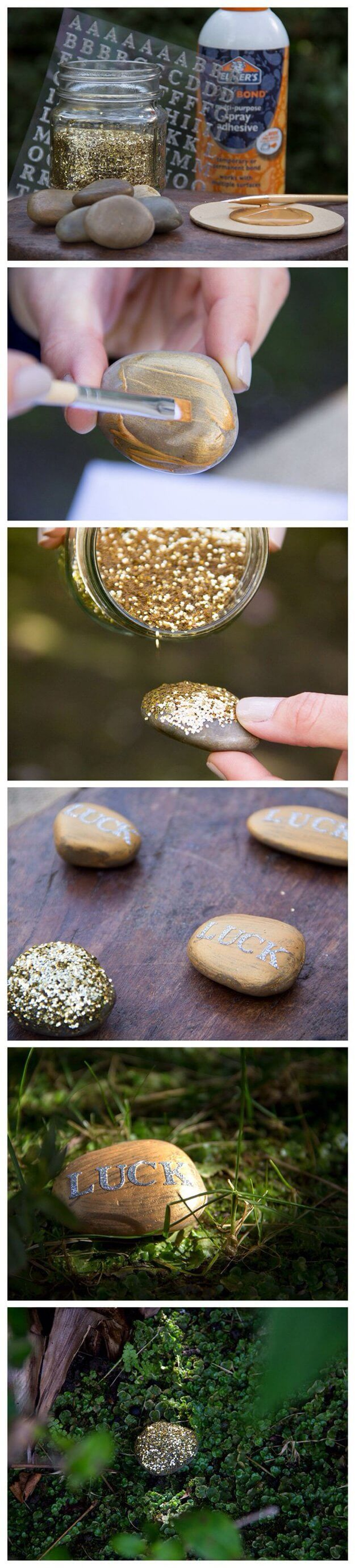 DIY St. Patrick's Day Gold Lucky Rocks