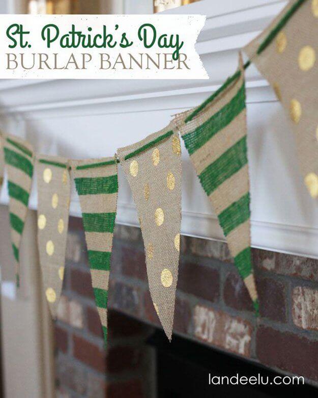 Rustic Burlap St. Patrick's Day Banner