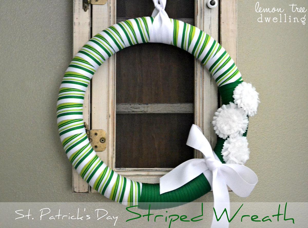 Pretty DIY St. Patrick's Day Striped Wreath