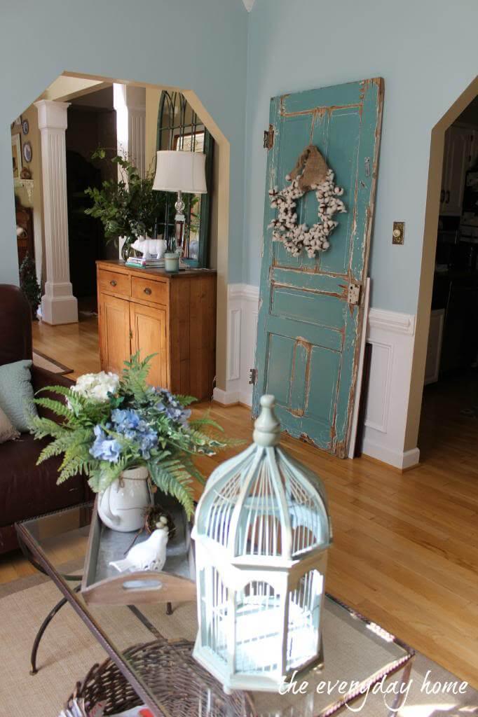 Rustic Decorative Door with Wreath