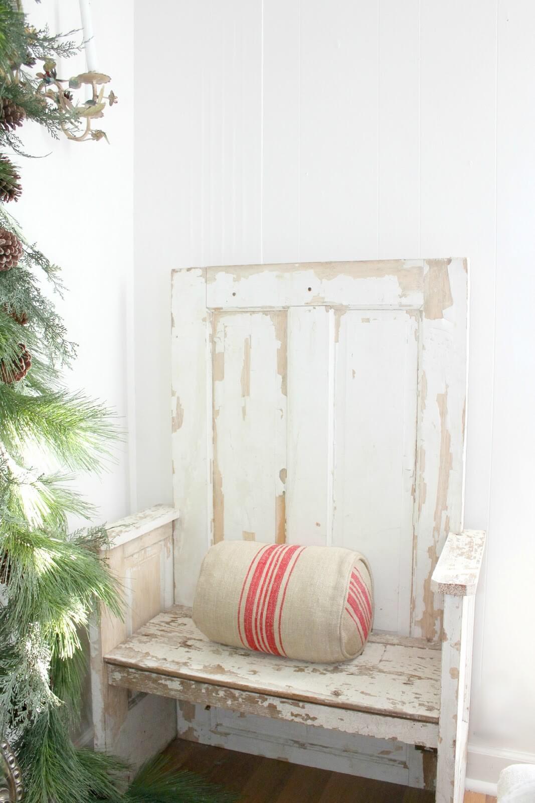 Reclaimed Wooden Door Weathered Bench