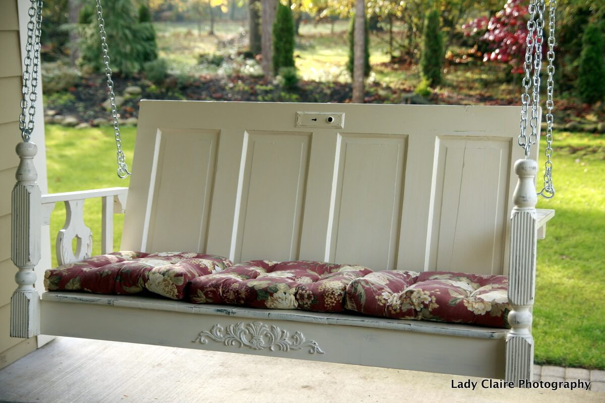 Porch Swing Made from Old Door