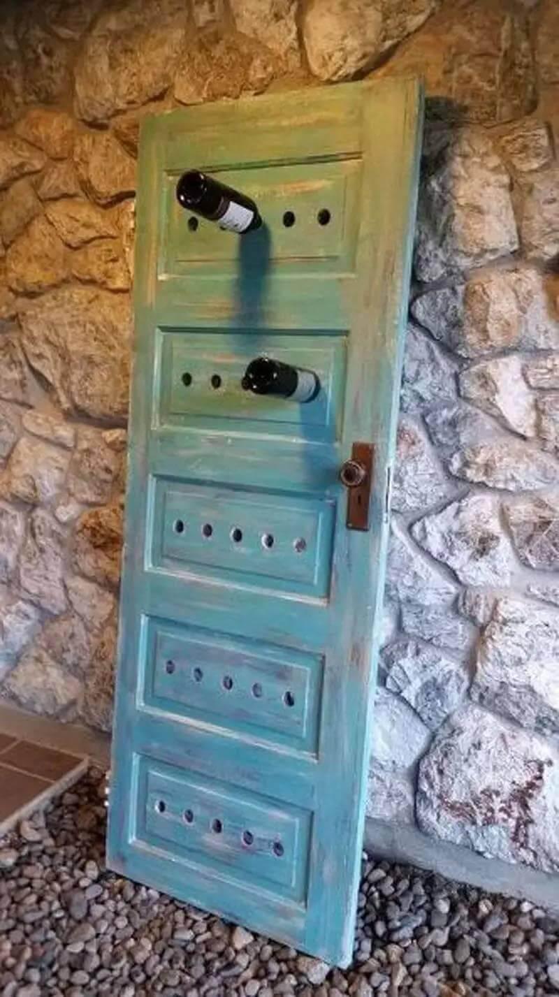 Wine Rack from Repurposed Door
