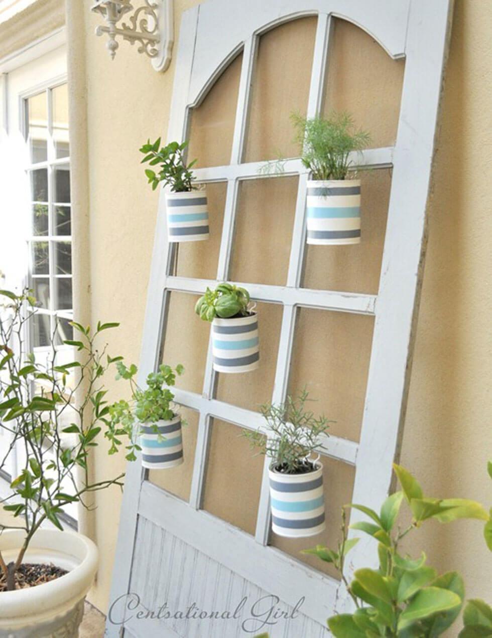 Repurposed Hutch Door Living Wall