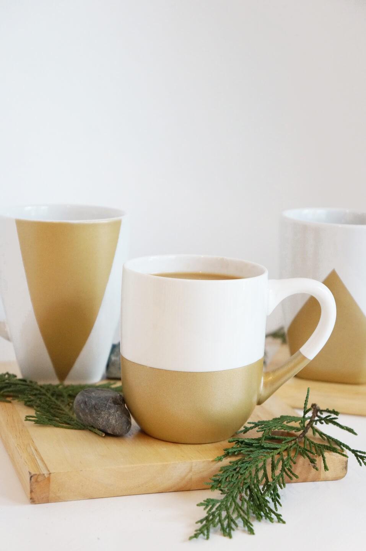 Splash of Gold Geometric Spray Painted Mugs