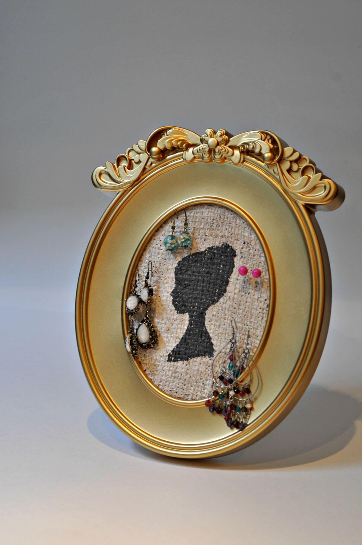 Stunning Gold-Framed Jewelry Organizer Art Piece