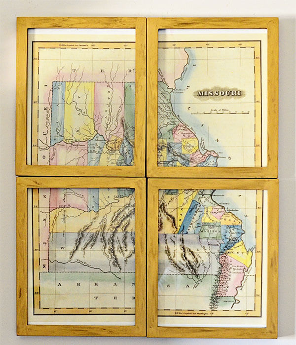 Unique State Map with Gold Vintage Frame
