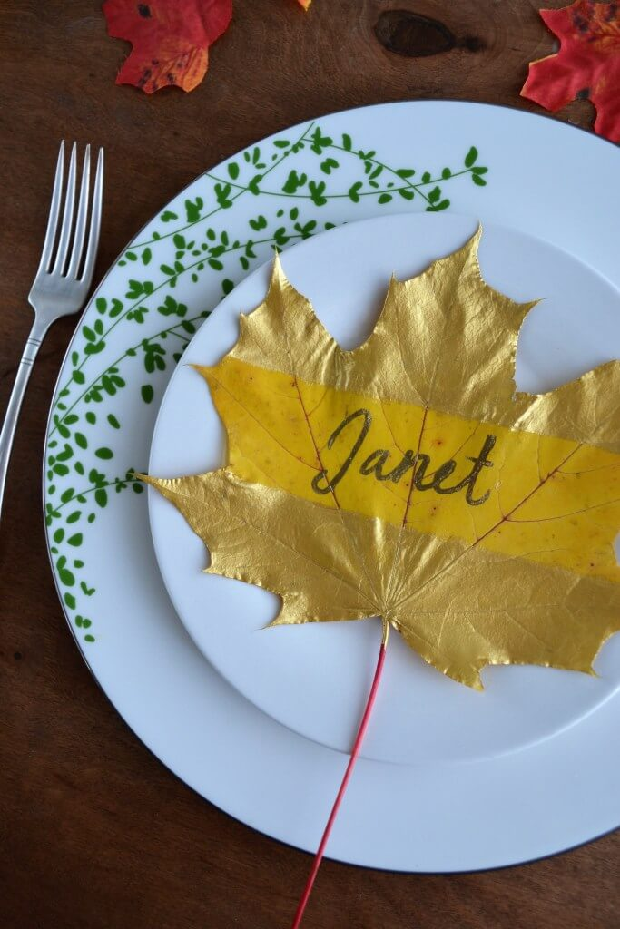 DIY Gold Autumn Leaf Table Decoration