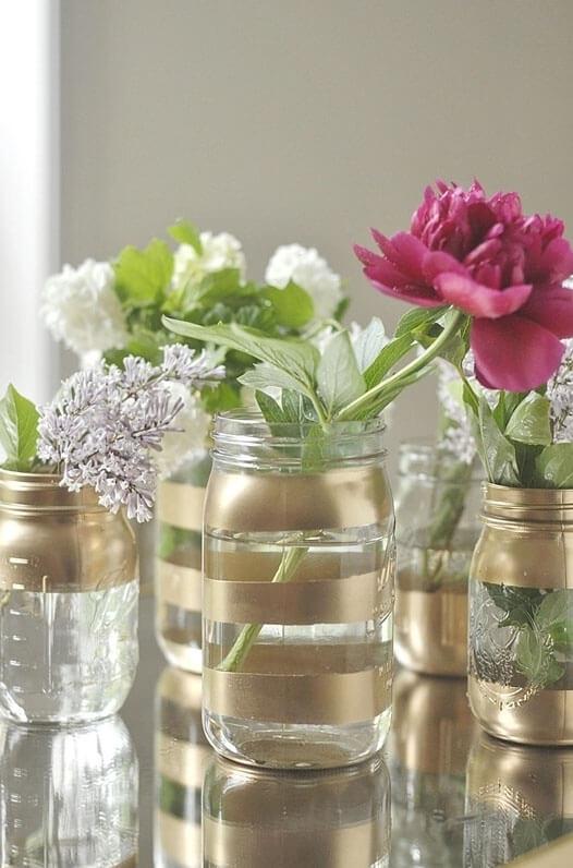 Gold Accent Mason Jar Flower Vase