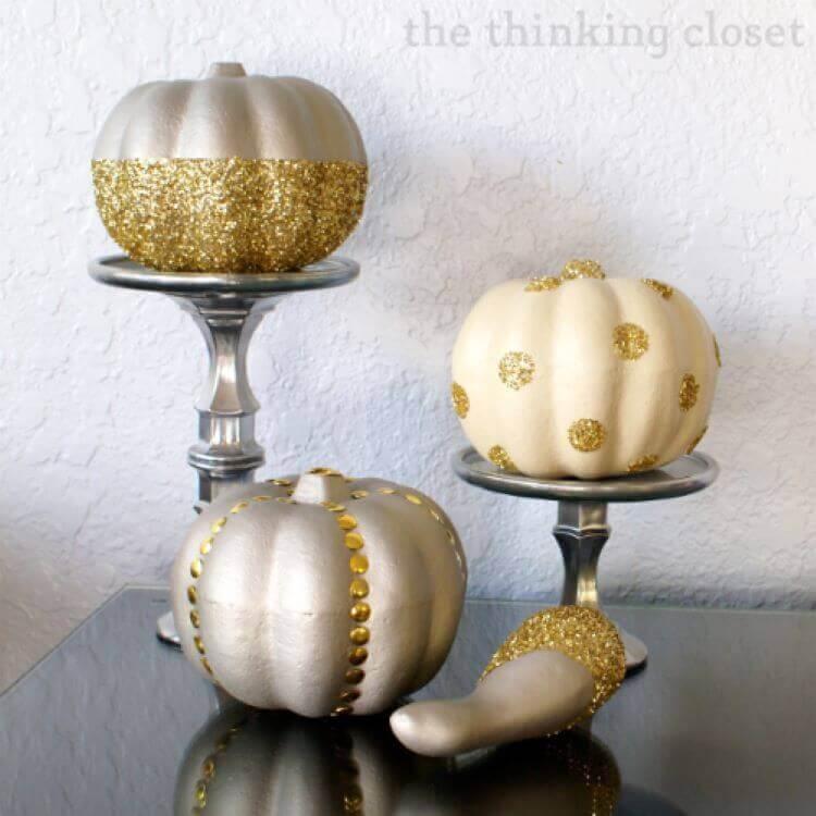Fabulous Faux Gold Glitter Pumpkins